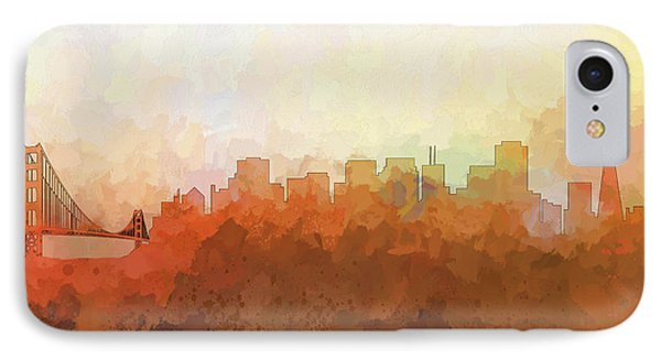 IPhone Case featuring the digital art San Francisco California Skyline by Marlene Watson