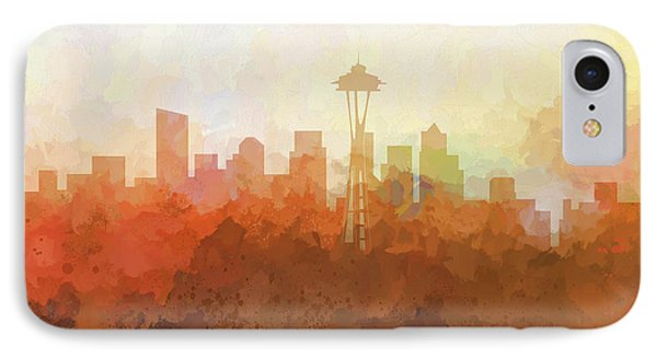 IPhone Case featuring the digital art Seattle Washington Skyline by Marlene Watson