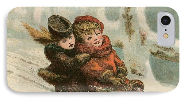 Vintage Christmas Card IPhone Case by English School
