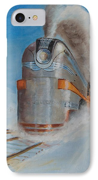 Train iPhone 7 Case - 104 Mph In The Snow by Christopher Jenkins