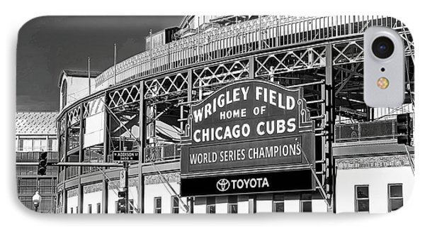 1283 Wrigley Field Black And White IPhone Case by Steve Sturgill