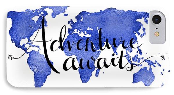 12x16 Adventure Awaits Blue Map Art IPhone Case