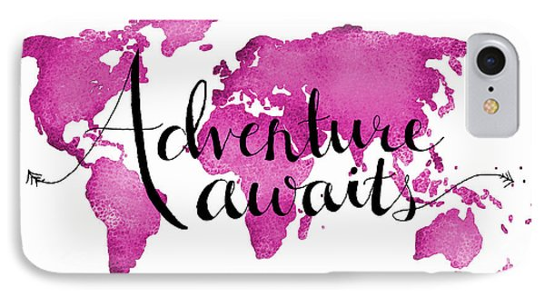 12x16 Adventure Awaits Pink Map IPhone Case by Michelle Eshleman