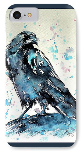IPhone Case featuring the painting Crow by Kovacs Anna Brigitta