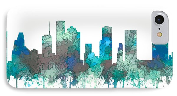 IPhone Case featuring the digital art Houston Texas Skyline by Marlene Watson