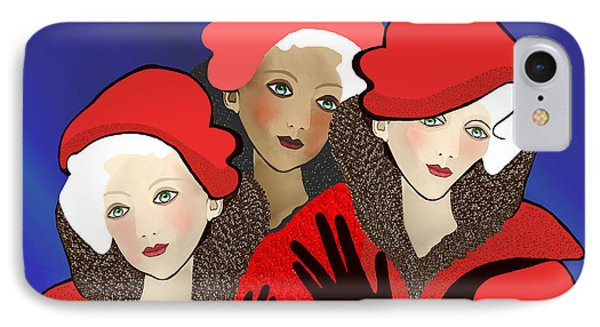 1391 - Three Chicks In Red 2017 IPhone Case by Irmgard Schoendorf Welch