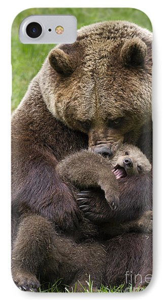 Mother Bear Cuddling Cub IPhone Case by Arterra Picture Library