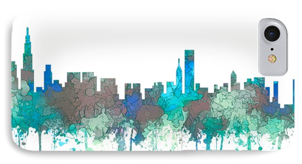 IPhone Case featuring the digital art Chicago Illinois Skyline by Marlene Watson