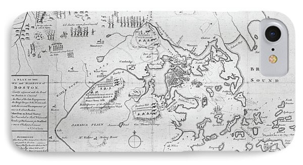 1700s City Planning Map Boston Ma Black And White IPhone Case