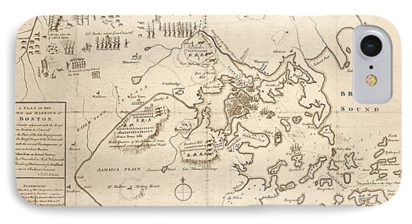 1700s City Planning Map Boston Ma Sepia IPhone Case by Toby McGuire