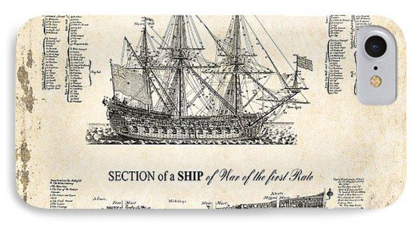 1728 Illustrated British War Ship IPhone Case by Daniel Hagerman
