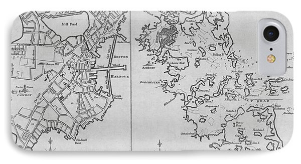 1775 City Planner Map Of Boston And Boston Harbor Black And White IPhone Case
