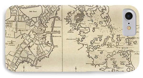 1775 City Planner Map Of Boston And Boston Harbor IPhone Case