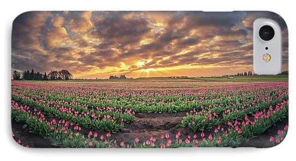 IPhone Case featuring the photograph 180 Degree View Of Sunrise Over Tulip Field by William Lee