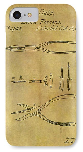 1848 Dental Forceps Patent IPhone Case by Dan Sproul