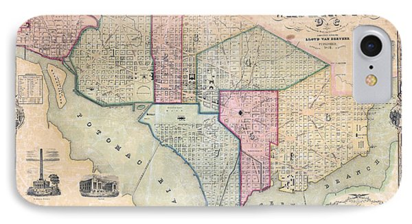 1851 Washington Dc Map IPhone Case