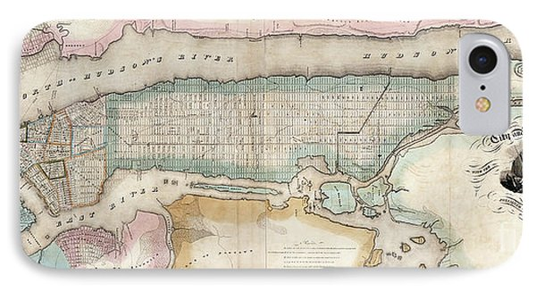 1852 New York City Map IPhone Case by Jon Neidert