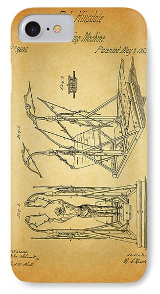 1853 Exercising Machine Patent IPhone Case by Dan Sproul