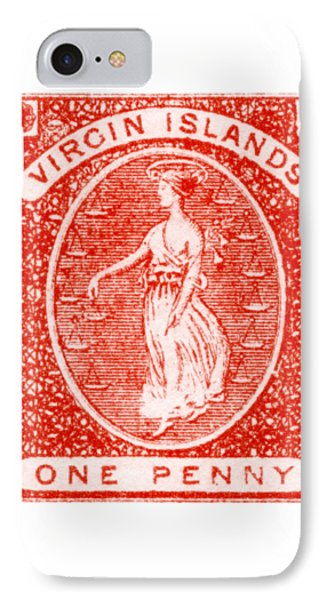 IPhone Case featuring the painting 1858 Virgin Islands Stamp by Historic Image