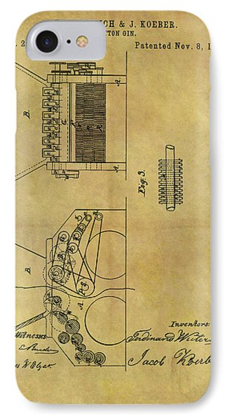 1859 Cotton Gin Patent IPhone Case by Dan Sproul