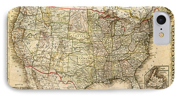 1860 Map Of The United States And Territories Together With Canada By S. Augustus Mitchell Jr. IPhone Case