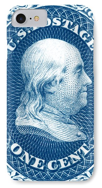 IPhone Case featuring the painting 1861 Benjamin Franklin Stamp by Historic Image
