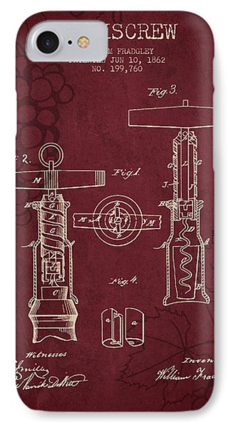1862 Corkscrew Patent - Red Wine IPhone Case by Aged Pixel