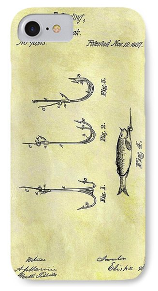 1867 Fishing Hook Patent IPhone Case
