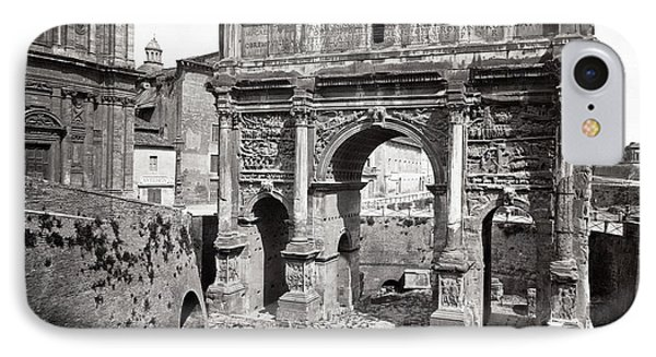 IPhone Case featuring the photograph 1870 Arch Of Septimius Severus Rome Italy by Historic Image