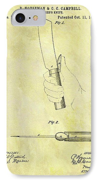 1870 Butcher Knife Patent IPhone Case by Dan Sproul
