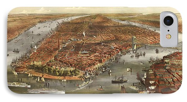 1870 New York Map IPhone Case by Dan Sproul