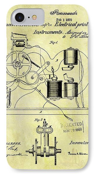 1870 Thomas Edison Patent IPhone Case by Dan Sproul