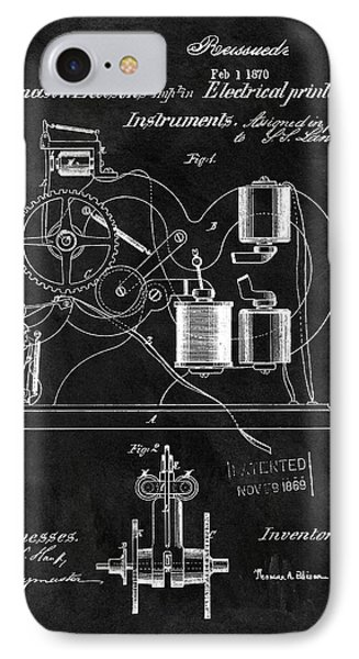 1870 Thomas Edison Print Patent IPhone Case by Dan Sproul