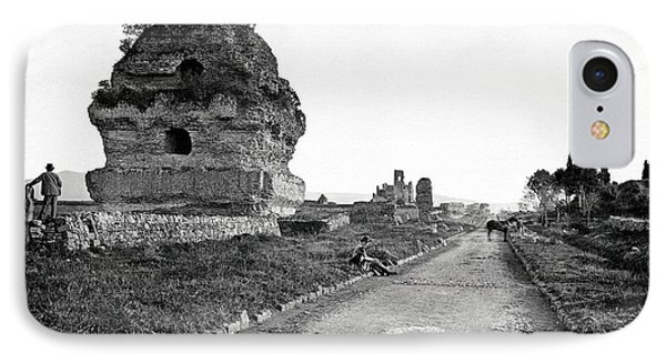IPhone Case featuring the photograph 1870 Visiting Roman Ruins Along The Appian Way by Historic Image