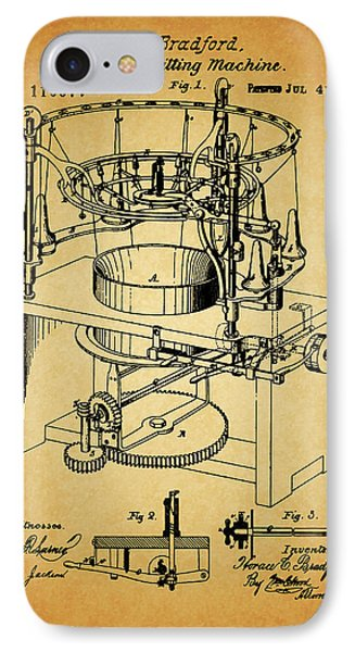 1871 Rotary Knitting Machine IPhone Case by Dan Sproul