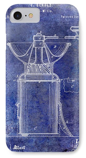 1873 Coffee Mill Patent Blue IPhone Case by Jon Neidert