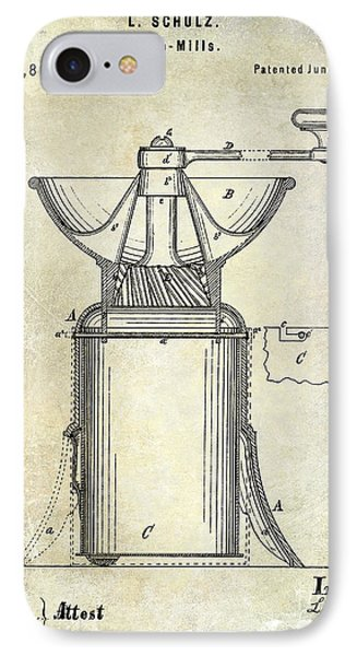 1873 Coffee Mill Patent IPhone Case by Jon Neidert