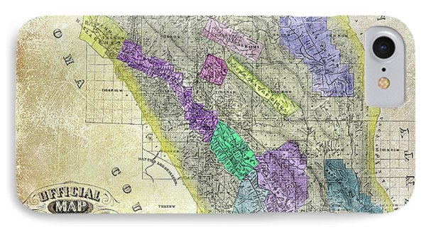 1876 Napa Valley Map IPhone Case by Jon Neidert