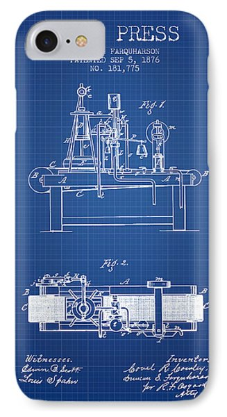 1876 Wine Press Patent - Blueprint IPhone Case by Aged Pixel