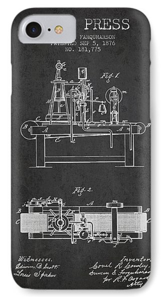 1876 Wine Press Patent - Charcoal IPhone Case by Aged Pixel