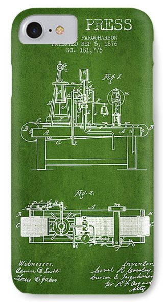 1876 Wine Press Patent - Green IPhone Case by Aged Pixel