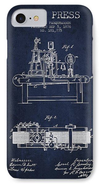 1876 Wine Press Patent - Navy Blue IPhone Case by Aged Pixel