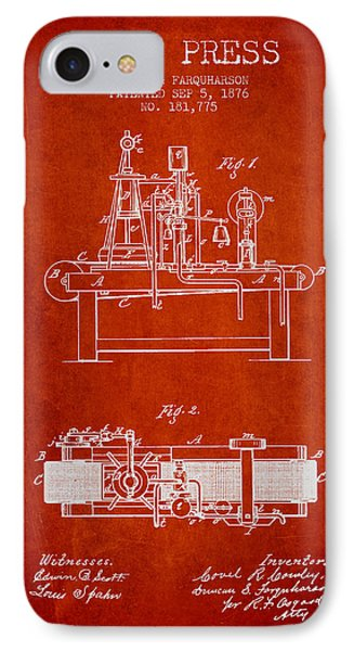 1876 Wine Press Patent - Red IPhone Case by Aged Pixel