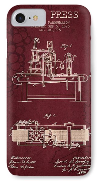 1876 Wine Press Patent - Red Wine IPhone Case by Aged Pixel