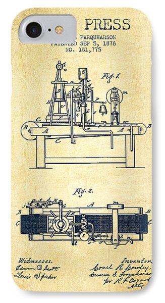 1876 Wine Press Patent - Vintage IPhone Case