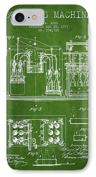 1877 Bottling Machine Patent - Green IPhone Case by Aged Pixel