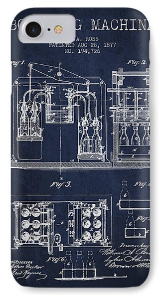 1877 Bottling Machine Patent - Navy Blue IPhone Case by Aged Pixel