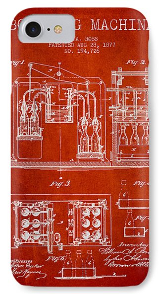 1877 Bottling Machine Patent - Red IPhone Case by Aged Pixel