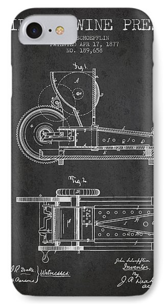 1877 Cider And Wine Press Patent - Charcoal IPhone Case by Aged Pixel