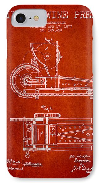 1877 Cider And Wine Press Patent - Red IPhone Case by Aged Pixel